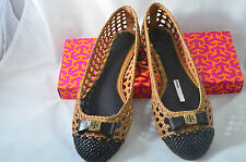 New In Box Tory Burch Leather Sand Black Woven Carlyle Ballet Flat Shoe 21138620