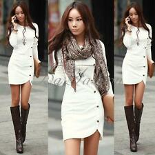 Women Ladie's Evening Clothes Party Long Sleeve Dress Cotton Winter Warm Dress