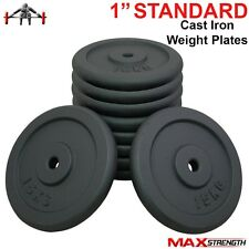 "Cast Iron Standard Weight Disk Plates Weightlifting Powerlifting Gym Bar 1"" Hole"