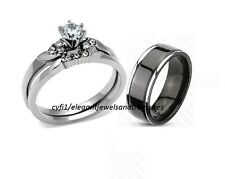 3Pc Black Titanium Stainless Steel His Hers Cz Engagement Wedding Band Ring Set