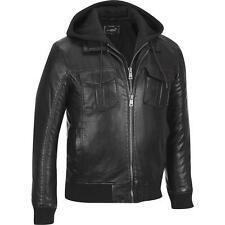 Black Rivet Mens Big & Tall Faux-Leather Military Style Hooded Bomber Jacket