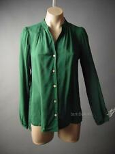 Forest Green Stand Clergy Collar Classic Office Button Up Top 109 mv Shirt S M L