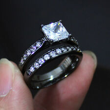 Deluxe Jewelry Ladys Black Gold Filled White Sapphire Couple Ring Set Size 6-10