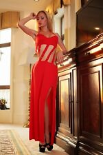 Plus Size Red Banded Sexy Party Dress Gown Sleepwear Clubwear 6 8 10 12 S M L XL
