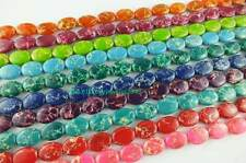 """13x18mm Multicolor Imperial Jasper Flat Oval Loose Beads 15.5"""""""