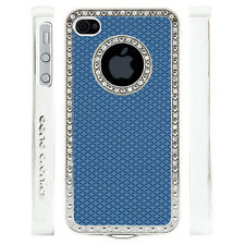 Gem Crystal Rhinestone Blue Diamond Rubber Case For Apple iPhone 5 5S 5G