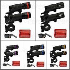 2 x CREE Q5 LED Mountain Bike Bicycle Cycle Zoomable Front Lights & 5 LED Rear