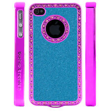 Apple iPhone 5 5S Gem Crystal Rhinestone Light Blue Shimmer Glitter Plastic case