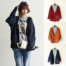 Women Loose Cable Knit Chunky Jacket Oversized Cardigan Casual Jumper Sweater B
