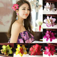 Bridal Wedding Orchid Flower Hair Clip Barrette Brooch Womens Girls Accessories