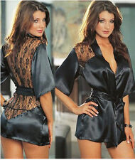 HOT Sexy Womens Satin Lace Robe Sleepwear Lingerie Nightdress G-string Pajamas