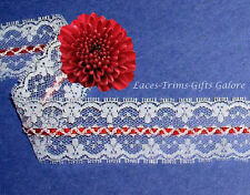"Lace Trim White Mock Beading 1-1/2"" Red Satin Braid O11AV More Ship Free BTY"