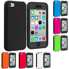 For Apple iPhone 5C Hybrid Shockproof Case Cover w/ Built In Screen Protector