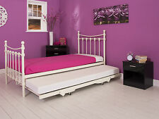 Santa Fe Ivory 3ft single Metal bed with guest Trundle bed and mattress option