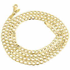 Mens or Ladies 10k Yellow Gold Flat Cuban Chain 4 mm Necklace 16-30 Inches