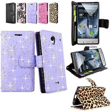 For Sharp Aquos Crystal 306SH Pu Leather Flip Wallet Card Holder Cover W/Strap