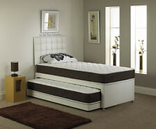 3FT SINGLE LEATHER GUEST BED 3 IN 1 QUILTED MATTRESS & HEADBOARD 6 COLOURS!