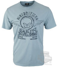 Harley-Davidson Mens Willie G Skull Vintage Wash Blue Short Sleeve T-Shirt