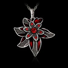 1PC Fashion Silver Crystal White Flower Pendant Necklace Long Sweater Chain Xmas