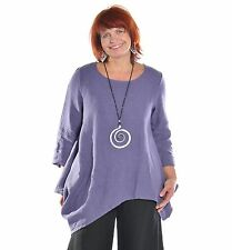 BRYN WALKER USA HEAVY-weight Linen DECA SHIRT Angle Tunic Top S  M L XL NOCTURNE
