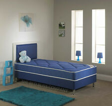 3FT Boys & Girls Blue + Pink faux leather Divan bed including mattress Headboard