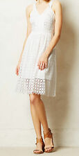 Leifsdottir Lila Eyelet Dress Size 12 Petite White Color NW ANTHROPOLOGIE Tag