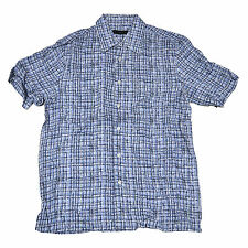 Via Europa Mens Short Sleeve Buttondown Shirt Placid Blue Mb0078