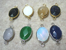 "Agate 1"" Faceted Oval Connector Link Bead Choose Color & Gold or Silver Plated"