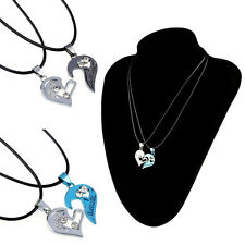 Two in one Jigsaw I Love You Heart Pendant Necklace Lovers Couples Gift Cheap