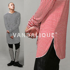 """XQUARE 23 Striped Overlong Extended Viscose Tee 35"""" S M L Blk Red Korea t14 164"""
