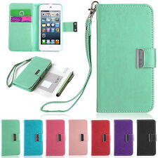 iPod Touch 5th Gen -HARD SOFT LEATHER WALLET HIGH IMPACT ARMOR CASE HYBRID COVER