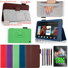 """For 2014 Amazon Kindle Fire HD 7"""" Folio PU Leather Case Cover Stand +Accessories"""