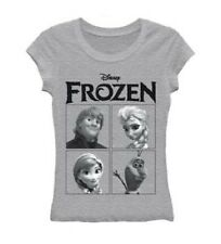 Disney's Frozen Four Square Characters Licensed NWT Juniors T-Shirt - Grey