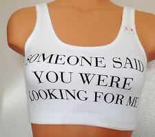 "Victoria's Secret WHITE BLACK ""Looking for me"" YOGA GYM TANK CROP TOP NEW PINK"