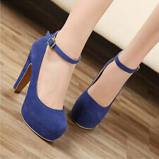 New Trendy Womens Sexy Suede Ankle Strap Stiletto High Heel Platform Pump Shoes