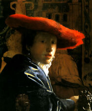 GIRL WITH RED HAT 1665 DUTCH PAINTING BY JOHANNES VERMEER REPRO