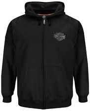 Harley-Davidson Mens Performance Reflective B&S Full Zip Black Hoodie Jacket