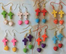Choose colours - Love heart Jesus Cross Crucifix Turquoise Earrings