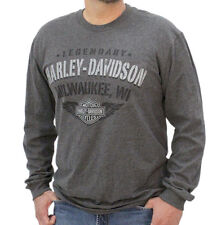 Harley-Davidson Mens Stenciled Hidden Pocket Charcoal Long Sleeve T-Shirt