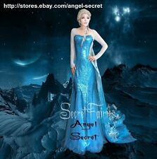 J757 Movies Frozen Snow Queen ELSA Cosplay Costume Dress tailor HANDMADE CUSTOM