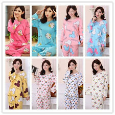 New Spring Fall Woman Girl Cartoon Trousers Set Long Sleeves Pyjamas Nighty