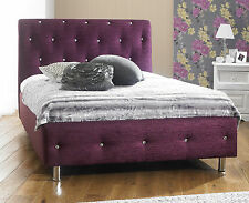 Crystal Luxury Chenille Fabric Bed Frame All Sizes + 8 Different Colors!