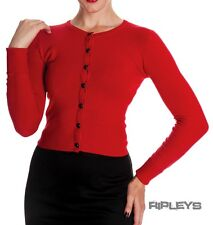 HELL BUNNY Ladies PALOMA 50s Plain Cardigan/Top Red All Sizes