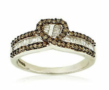 .925 Silver Chocolate Brown & White Round & Baguette Diamond Heart Ring .52ct