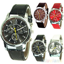 Mens Boys Cool Trendy Round Dial Faux Leather Strap Quartz Wrist Watch Clearance