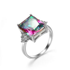 Sterling Silver Plated Huge Oval Shaped Natural Rainbow Mystic Topaz Gems Rings