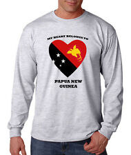 My Heart Belongs To Papua New Guinea Unisex Cotton Long Sleeve T-Shirt Tee Top
