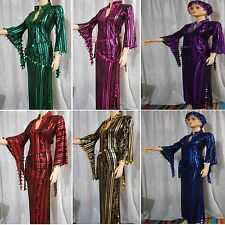 LONG EGYPTIAN GALABEYA SAIDI & 2 BEADED SCARVES,ABAYA BALADI,BELLY DANCE,DRESS