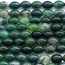 """Wholesale Natural Genuine Green Moss Agate Oval Rice Shape Stone Loose Beads 16"""""""