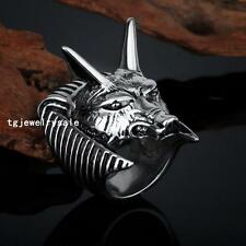 Mens Cool 316L Stainless Steel Martial Silver Rhinoceros Head Finger Band Ring